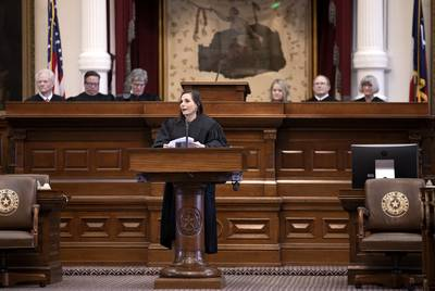 Judge Michelle Slaughter at her swearing-in ceremony at the state Capitol on Jan. 11, 2019.