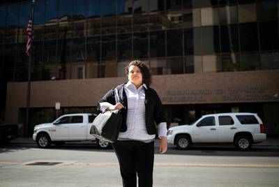 Attorney Taylor Levy in front of the Richard C. White federal building in El Paso on Wednesday.