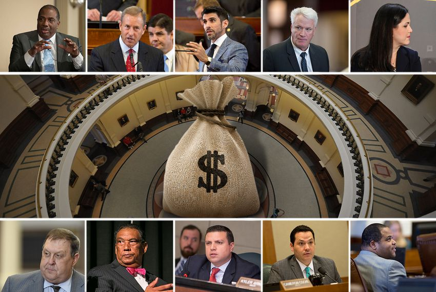Clockwise, from top left: State Sen. Royce West, D-Dallas, state Reps. Jim Murphy, R-Houston, Eddie Lucio III, D-Brownsville, Lyle Larson, R-San Antonio, Ana Hernandez, D-Houston, Eric Johnson, D-Dallas, Justin Rodriguez, D-San Antonio, Sergio Muñoz Jr., D-Palmview, Joe Deshotel, D-Beaumont and Cecil Bell, Jr., R-Magnolia.