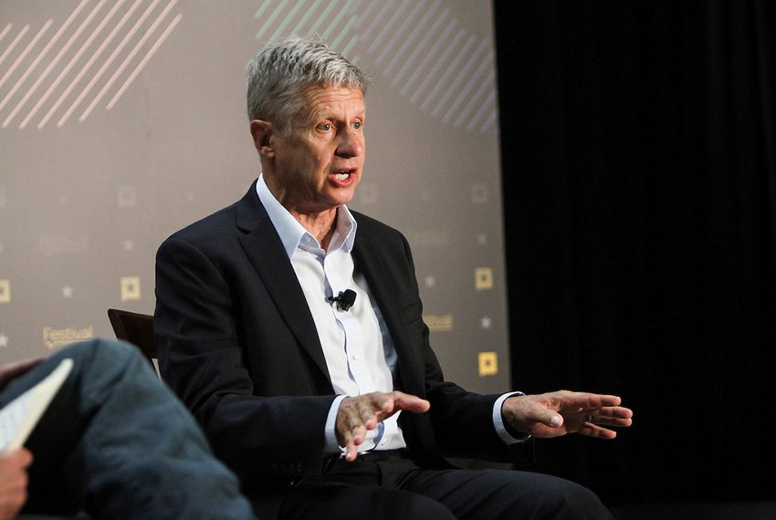 Gary Johnson, the 2016 Libertarian candidate for president, is interviewed by Matthew Dowd, chief political analyst for ABC News, at The Texas Tribune Festival on Sept. 24, 2016.
