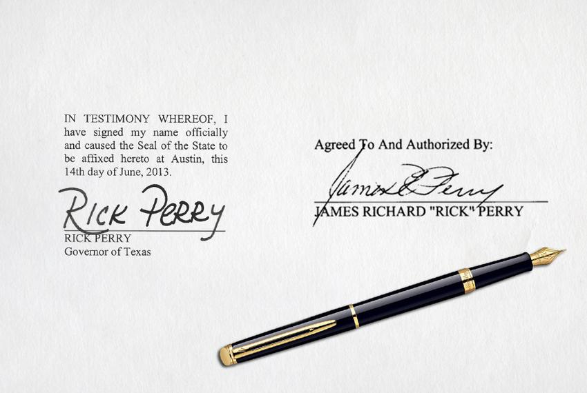 An example of how Gov. Rick Perry's signature appears on hundreds of state documents, left, compared to his signature on cou…