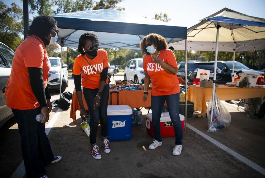 Non-partisan organization See You at the Polls Texas gives out drinks and snacks to voters at the Acres Homes Multi-Service …