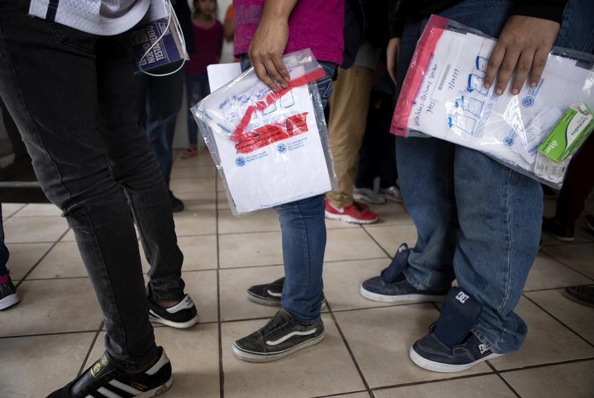 Migrants arrive in Nuevo Laredo after being returned by Customs and Border Protection. The group requested asylum in the Uni…