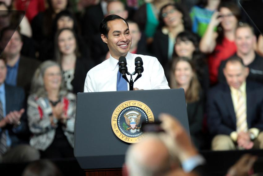 Secretary of Housing and Urban Development Julian Castro speaking before a speech delivered by President Barack Obama at C...