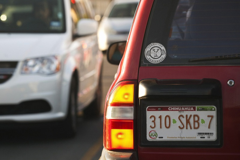 A vehicle with Chihuahua State, Mexico, license plates turning onto Loop 375 in El Paso on Aug. 20, 2012.