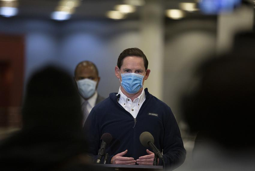 """Dallas County Judge Clay Jenkins speaks at a presser before opening Dallas County's first """"mega"""" public vaccination site at …"""