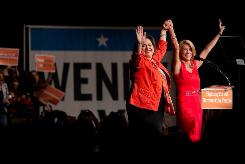 Democratic nominee Wendy Davis addresses her supporters at the filibuster anniversary celebration hosted by her gubernator...