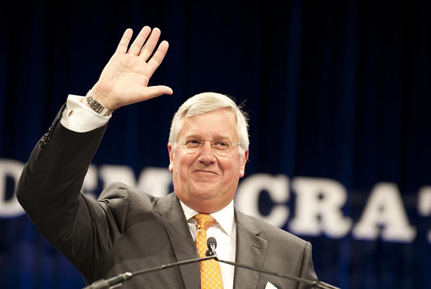 Mike Collier, then-Democratic nominee for Texas comptroller, at the state Democratic convention in Dallas on June 27, 2014...