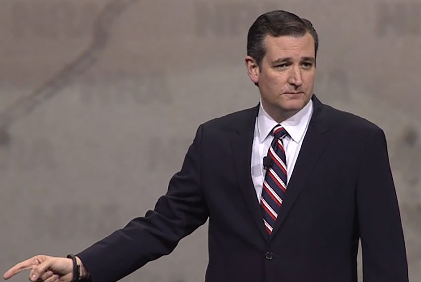 U.S. Sen. and presidential candidate Ted Cruz speaks at the National Rifle Association's annual meeting in Nashville, Tenn. on Friday, April 10, 2015.
