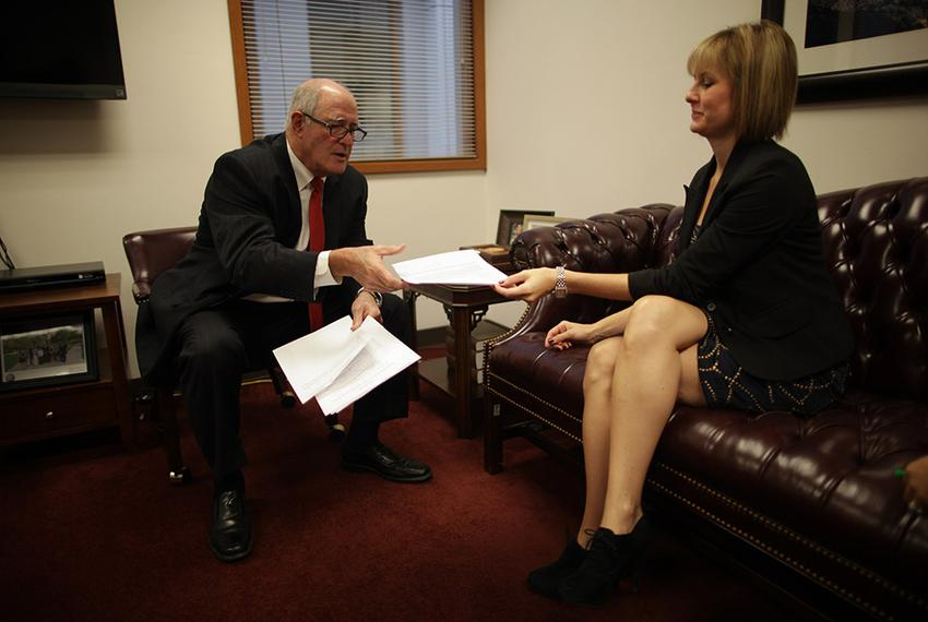 State Sen. Kel Seliger, R-Amarillo, meets with his chief of staff, Ginger Averitt, at their Capitol office on October 16, 20…