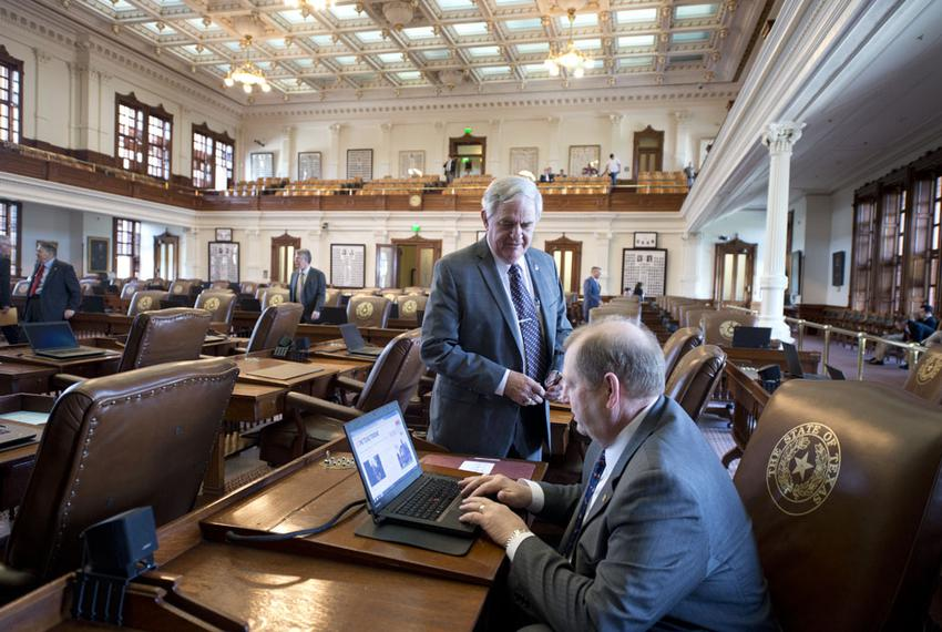 Texas House Appropriations Chairman John Otto, R-Dayton, looks at his computer while state Rep. Jimmie Don Aycock, R-Kille...
