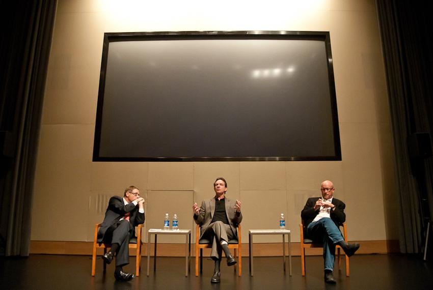 """Evan Smith converses with filmmakers Lawrence Wright and Alex Gibney after the Texas premiere of """"My Trip to Al-Qaeda"""" at ..."""