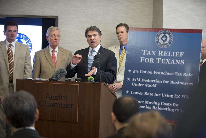 Gov. Rick Perry announced plans for a tax cut aimed at Texas small businesses on April 15, 2013, at the Austin Chamber of Co…