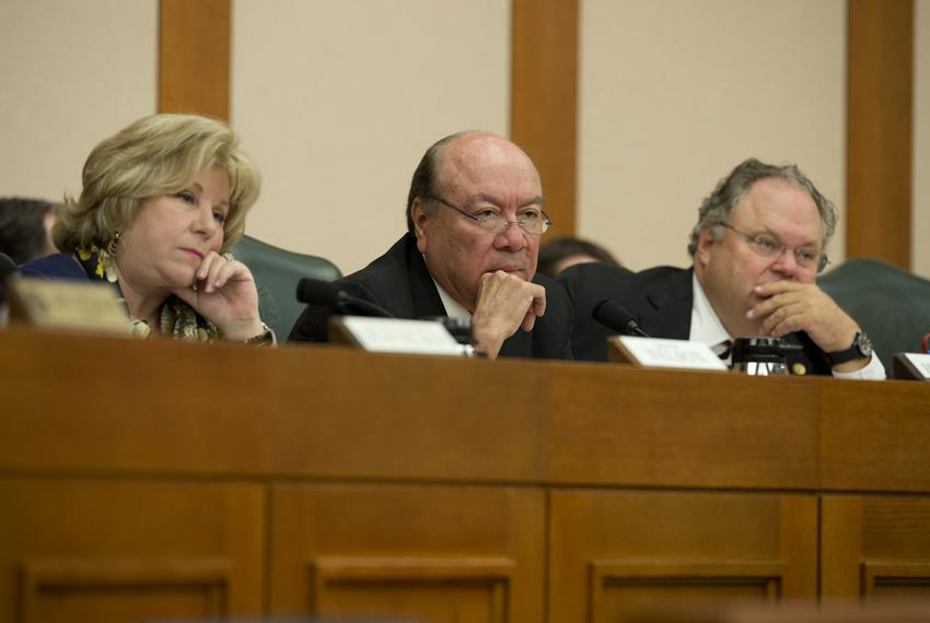 Senators Jane Nelson, R-Flower Mound, Juan Hinojosa, D-McAllen and Craig Estes, R-Wichita Falls, listen to DPS Director St...