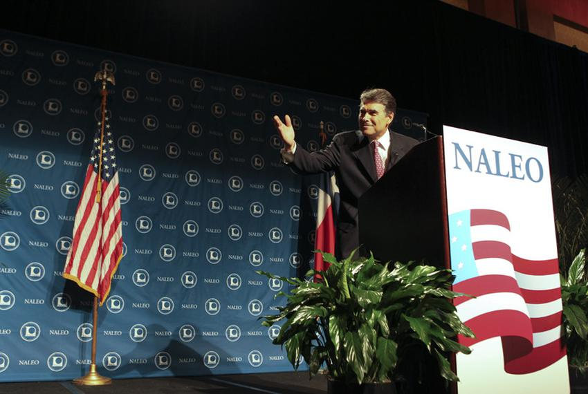 Texas Governor Rick Perry gestures during his speech to the NAELO  National Assn. of Latino Elected Officials in San Antonio…