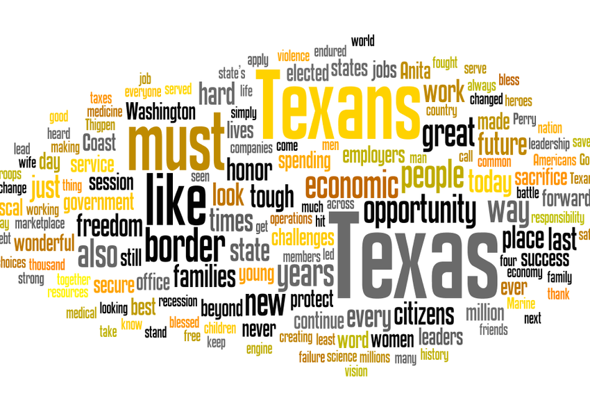 Word cloud of Rick Perry's prepared remarks for his inauguration as Governor.