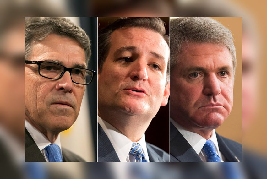 (L.-R.) Former Governor Rick Perry, U.S. Sen. Ted Cruz and U.S. Rep. Michael McCaul, R-Austin.