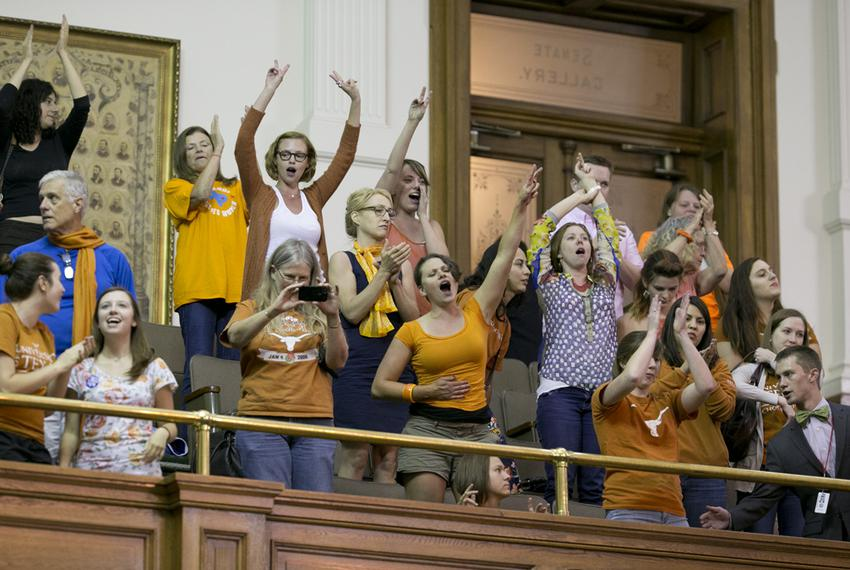 Protesters in the Senate gallery disrupt the final hour of the special session on June 25, 2013.