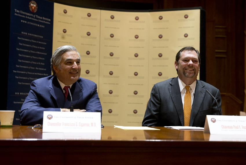 UT System Chancellor Francisco Cigarroa (left) and UT Board of Regents Chairman Paul L. Foster are shown at the announcement…