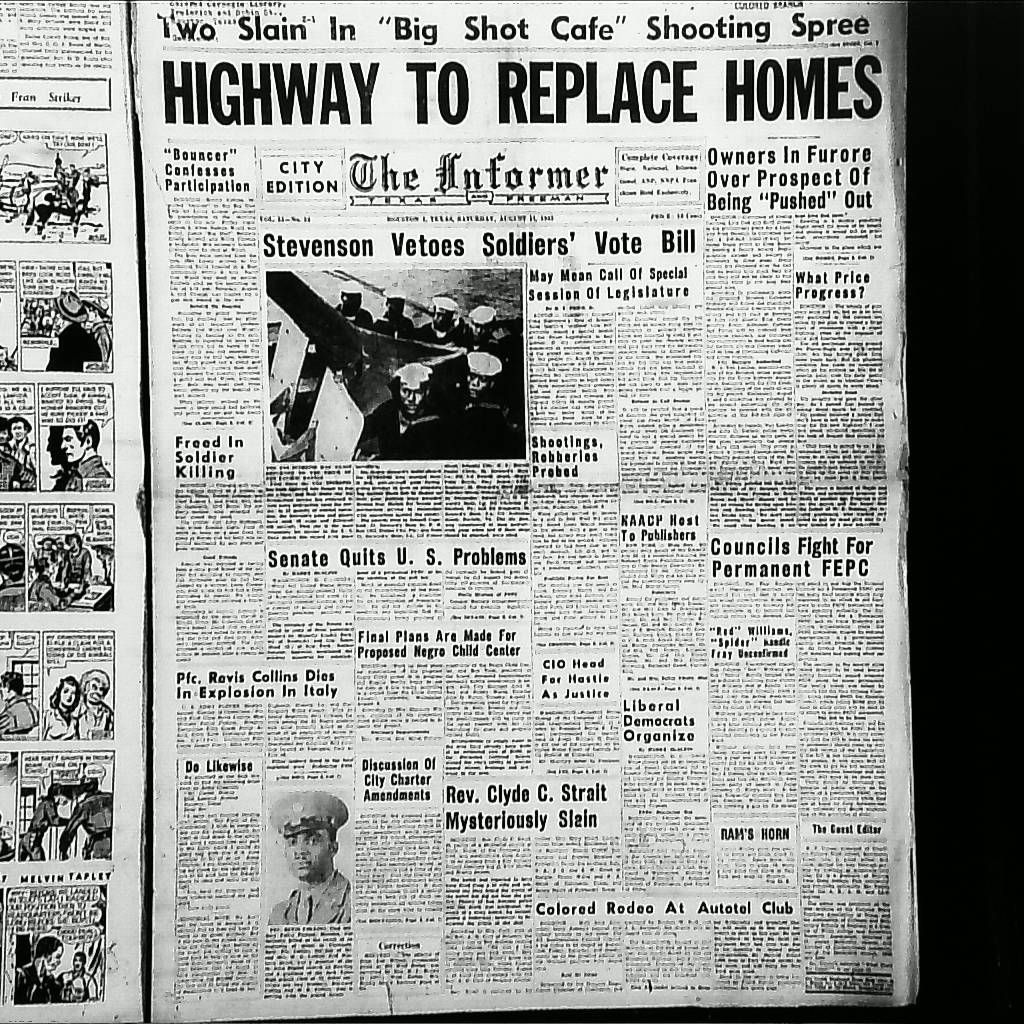 The cover of the black newspaper The Informer, in August 1944, protested the building of the Gulf Freeway.