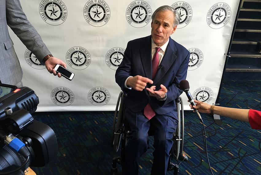 Gov. Greg Abbott speaks with reporters before a speech Friday in Lubbock. Abbott said he plans to release a list of issues h…