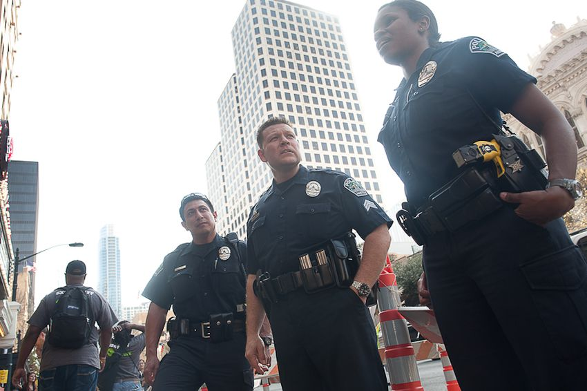 Left to right: Officer Mario Martinez, Sergeant R. Richman and officer L. Lyons on duty.