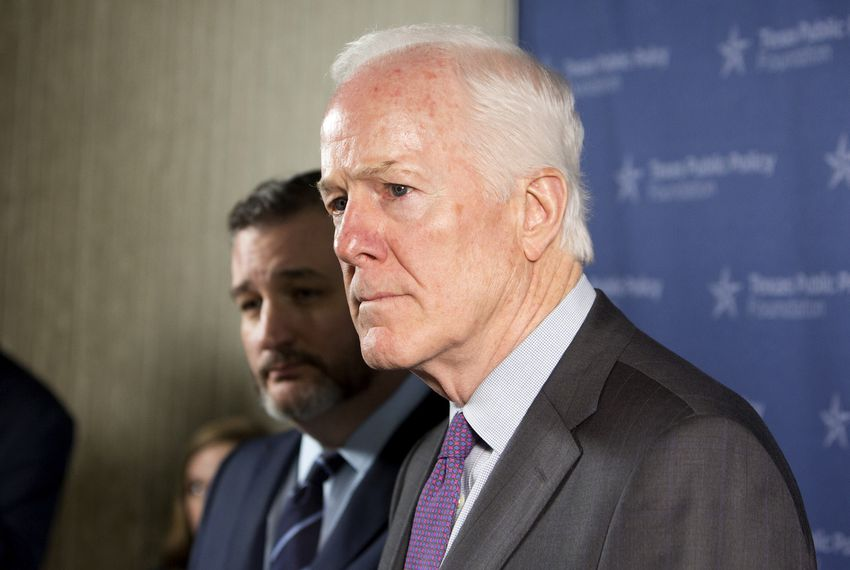 U.S. Sens. John Cornyn, right, and Ted Cruz of Texas spoke to media after the Texas Public Policy Foundation's annual policy orientation in Austin in January.