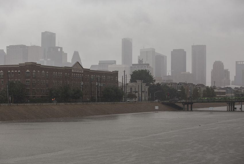 Water fills the highway intersection between U.S.59 and Highway 288 near downtown Houston on Sunday, Aug. 27, 2017.