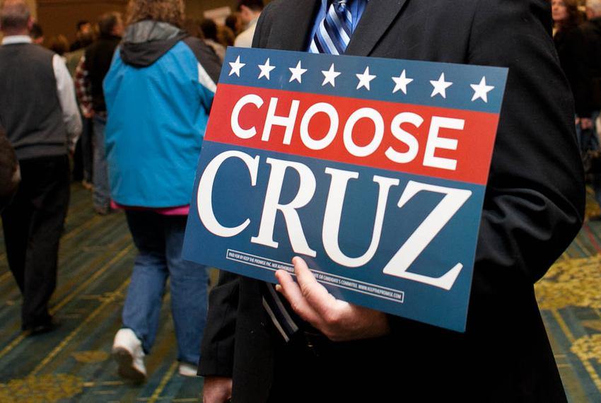 Supporters gather to see Sen. Ted Cruz and to await the results of the Republican caucus at the Iowa State Fairgrounds in De…