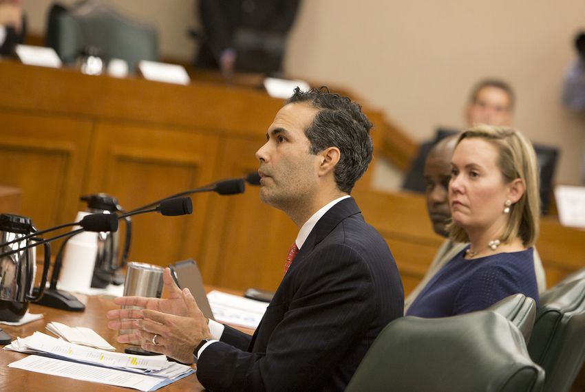Texas General Land Office Commissioner George P. Bush testifies before the Senate Finance Committee on Dec. 5, 2017.