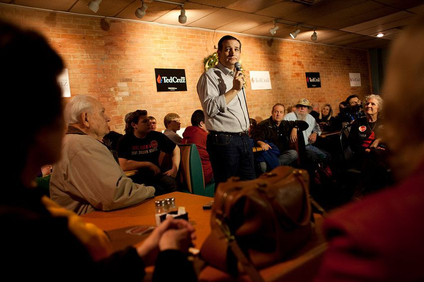 U.S. Sen. Ted Cruz speaks to a crowd gathered at Prime Time Restaurant in Guthrie Center, Iowa, on Monday, Jan. 4, 2016.
