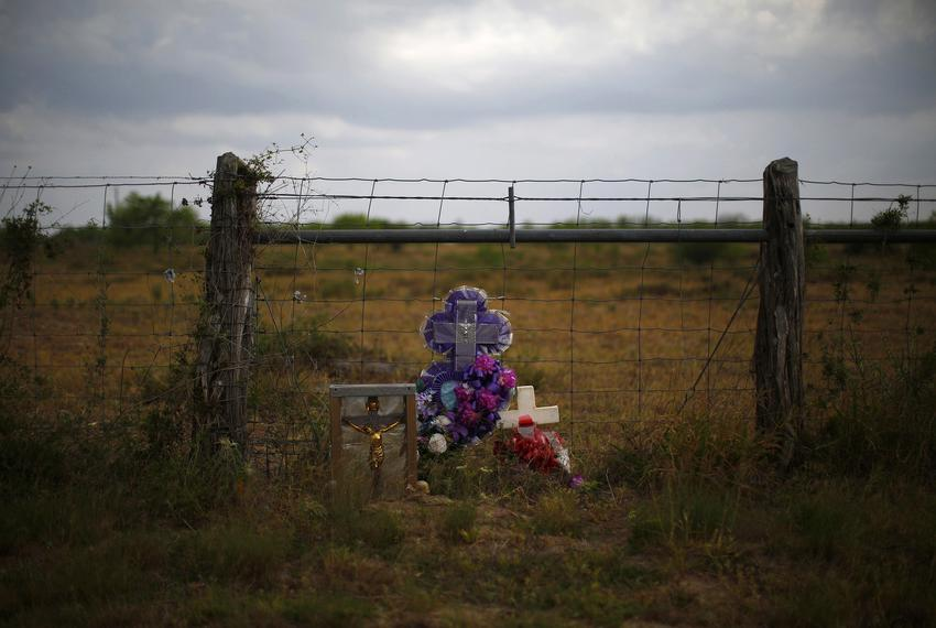 A memorial in the desert near Falfurrias on April 2, 2013. Brooks County officials and ranchers have discovered the bodies...