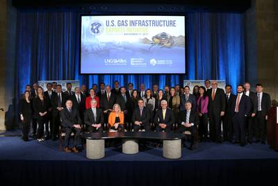 The U.S. Gas Infrastructure Exports Initiative was unveiled by the U.S. Trade Development Agency on November 17, 2017 to promote sales of American natural gas. The public-private partnership has over 40 partners, including gas companies, lobbying firms and trade organizations.