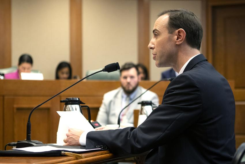 Texas Secretary of State David Whitley at a state Senate Committee on Nominations hearing on Feb. 7, 2019. Whitley was app...