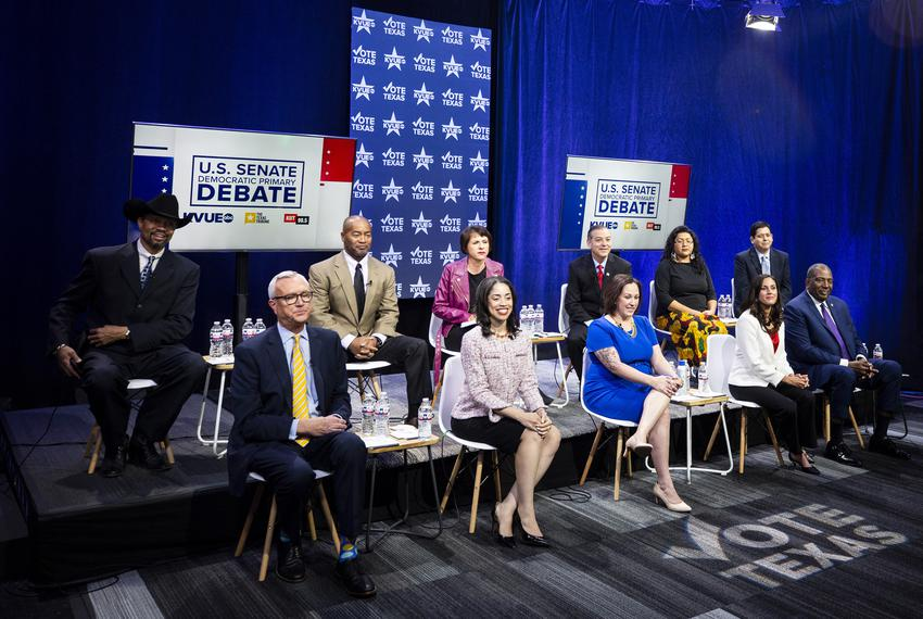 Eleven Democratic candidates for the U.S. Senate in Austin for a debate as early voting begins in Texas on Tuesday, Feb. 18,…