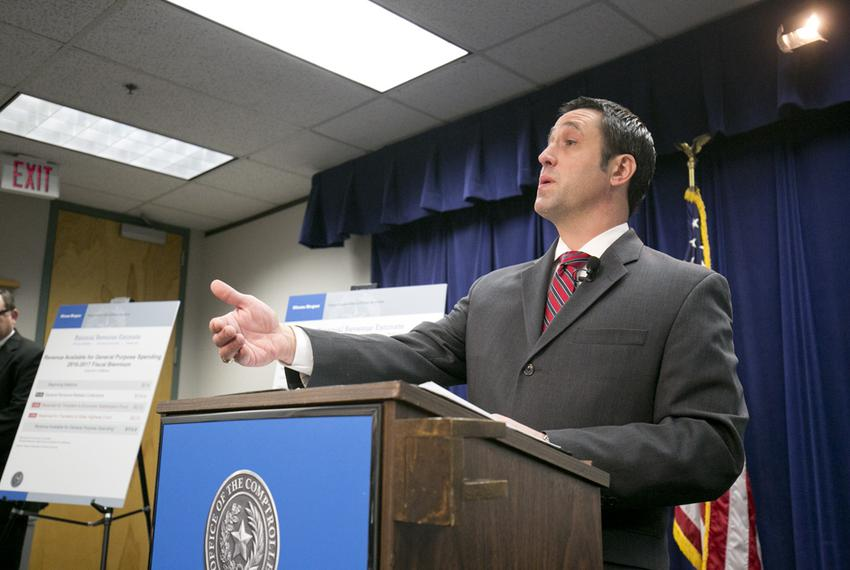 Comptroller Glenn Hegar announced the state's biennial revenue estimate on Jan. 12, 2015.