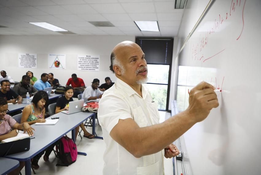 Carlos Handy, Professor and Chair of the Department of Physics  at Texas Southern University, teach a Physics 2 class in Hou…