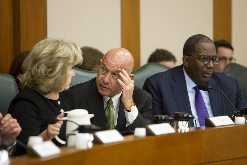 State Sens. Jane Nelson, R-Flower Mound, John Whitmire, D-Houston, and Royce West, D-Dallas, at a Senate Finance Committee h…