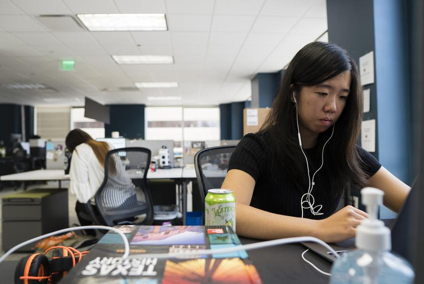 Reporting fellow Isabella Zou works in the office on July 29, 2021.