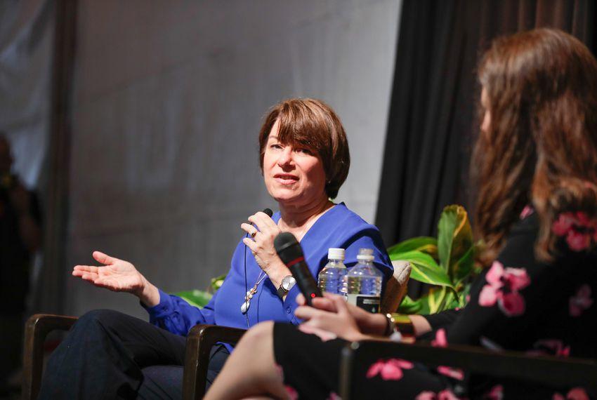 U.S. Sen. Amy Klobuchar, D-Minnesota, talks to Texas Tribune D.C. Bureau Chief Abby Livingston at the Texas Tribune Festival on Sept. 29, 2018.
