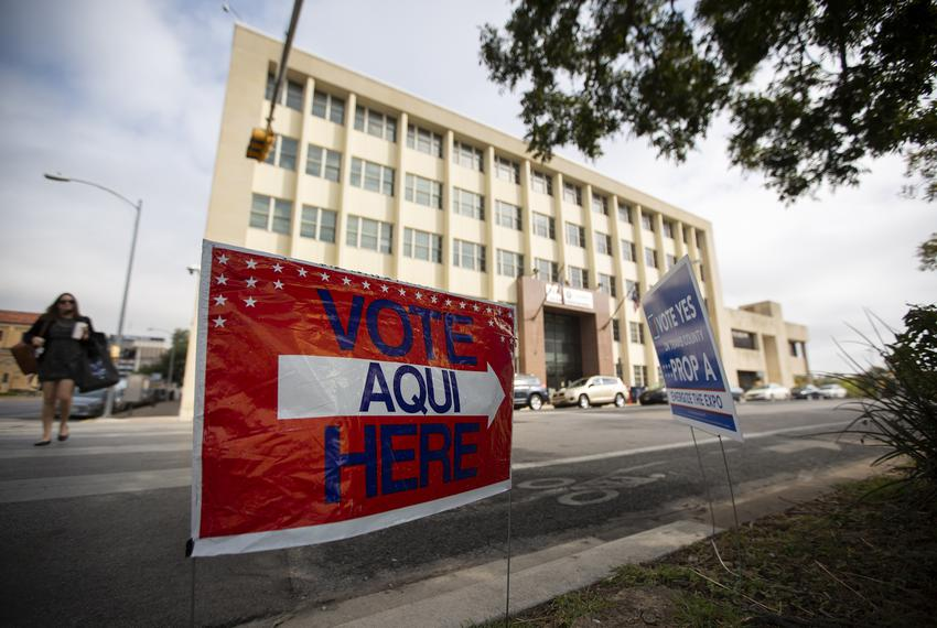 Voting signs near the Travis County Granger Building election site on Election Day, Nov. 5, 2019.