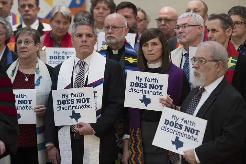 Faith leaders from around Texas gather at First United Methodist Church near the Texas Capitol as the Texas Believes coalition on Feb. 9, 2017.  The group is opposing several upcoming anti-LGBT  bills and is rejecting the use of faith as a political weapon to justify discrimination.