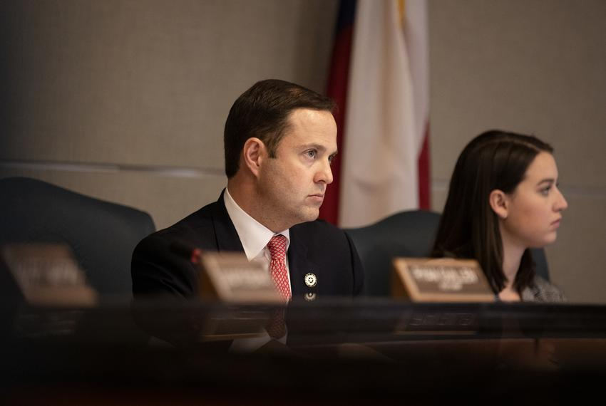Rep. Dustin Burrows, R-Lubbock, listens to testimony at the Ways and Means hearing on SB 2. Feb 27, 2019.