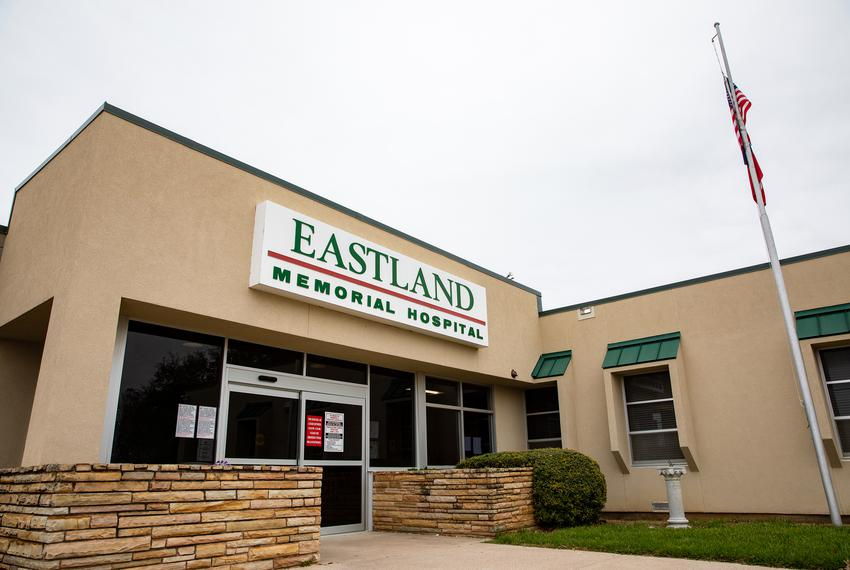 The exterior of the main entrance at Eastland Memorial Hospital.