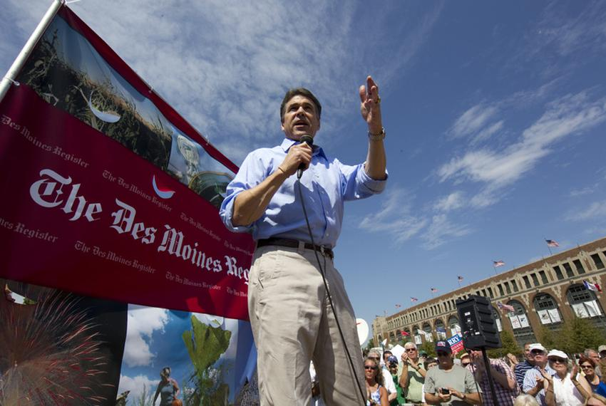 Gov. Rick Perry speaks at the Iowa State Fair during a campaign stop on Aug. 14, 2011.