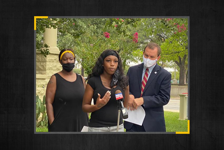 Ma'kiya Congious, 19, speaks at a press conference on Sept. 23, 2020. Congious said she lost her job at Whataburger followin…