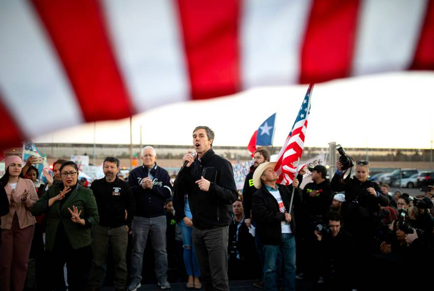 Beto O'Rourke leads a counterprotest with thousands of other El Pasoans at the same time President Donald Trump holds a ca...