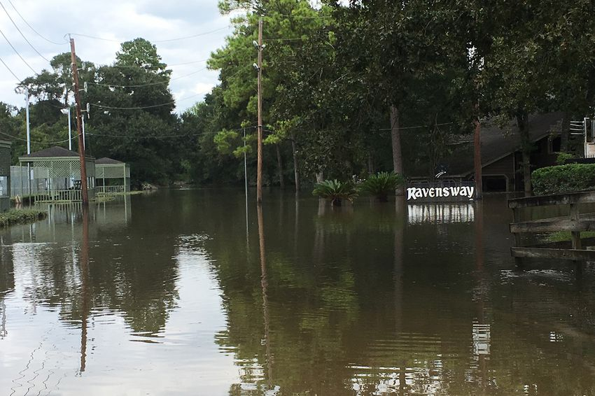TheRavensway subdivision in Cypress near Houston where Dick Smith lives on Aug. 30, 2017, following Hurricane Harvey.