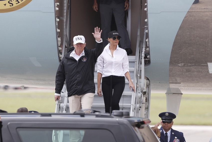 President Donald Trump and First Lady Melania Trump arrive in Corpus Christi on Air Force One to survey damage from Hurricane Harvey on Aug. 29, 2017.