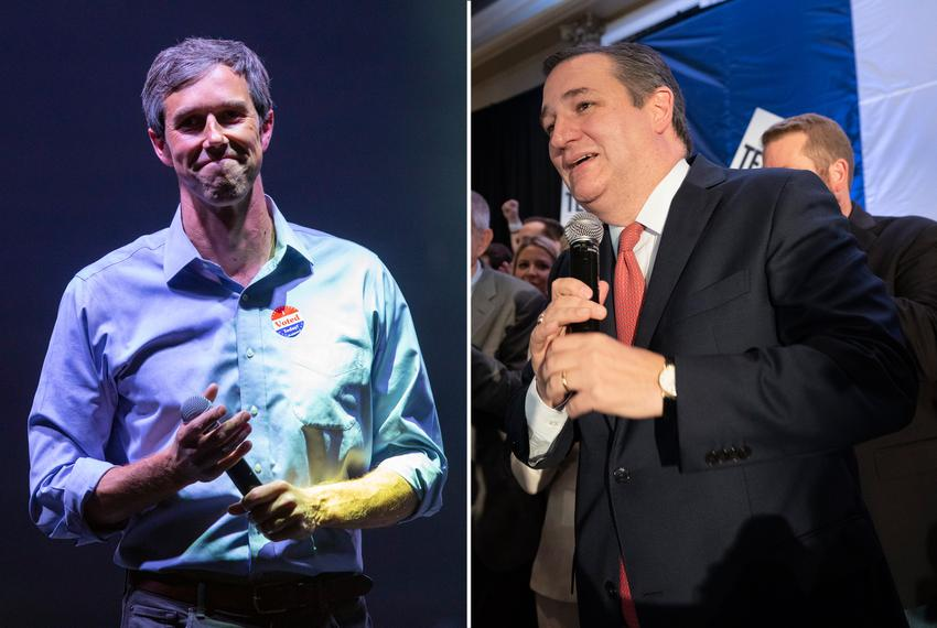 U.S. Rep. Beto O'Rourke, D-El Paso (left), and U.S. Sen. Ted Cruz at their respective election night rallies on Nov. 6, 20...